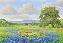 DON WARREN, (American, 1935-2006), Texas Bluebonnet Time, Oil on canvas, H 23½ x W 35½ inches.