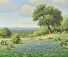 DON WARREN, (American, 1935-2006), Texas Spring Bluebonnets, Oil on canvas, H 23½ x W 17½ inches.