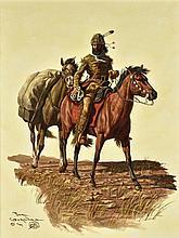JOE GRANDEE, (American, born 1929), Warrior on Horse, Oil on canvas, H 19¾ x W 23½ inches.