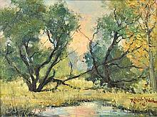 ROBERT WILLIAM WOOD, (American, 1889-1979, Landscape, 1946, Oil on canvas, H 8½ x W 11½ inches.