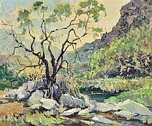 EMERSON LEWIS, (American, 1892-1958), Landscape, Oil on board, H 19¼ x W 23¼ inches.