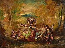 NARCISSE-VIRGIL DIAZ DE LA PENA, (French, 1807-1876), Untitled, Oil on board, H 9½ x W 12½ inches.