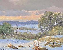 PORFIRIO SALINAS, (American, 1910-1973), Evening Glow, Oil on canvas board, H 7¼ x W 9½ inches.