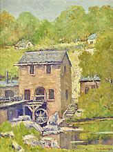 PETER LANZ HOHNSTEDT, (American, 1872-1957), Water Mill, Oil on canvas, H 23¾ x W 17 inches.