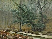 IRA MCDADE, (American, 1867-1954), Winter Landscape, Oil on board, H 17½ x W 23½ inches.