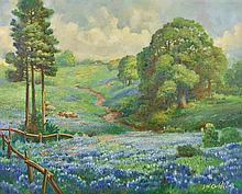 JOHN WILLIAM ORTH, (American, 1889-1976), Bluebonnets, Oil on canvas, H 23½ x W 29½ inches.