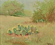 ROBERT WILLIAM WOOD, (American, 1889-1979), Blooming Cactus, Oil on board, H 7½ x W 9½ inches.