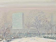 JOHANN BERTHELSEN, (American, 1883-1972), United Nations Building, New York, Oil on canvas, H 17¼ x W 23¼ inches.