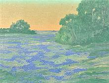 ARTHUR BISHOP JEFFREYS, (American, 1892-1970), Texas Bluebonnets, Oil on canvas, H 19½ x W 25½ inches.