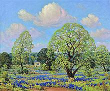 DWIGHT CLAY HOLMES, (American, 1900-1986), Bluebonnets, 1979, Oil on canvas board, H 27½ x W 33 inches.