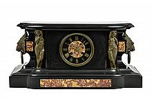 A FRENCH GILT METAL AND MARBLE MOUNTED SLATE MANTEL CLOCK