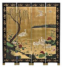A CHINESE STYLE LACQUERED FOUR-PANEL FLOOR SCREEN