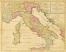 GUGLIELMO DEL'ISLE, (Italian, 18th century), Italy, 1708, Hand colored engraving mounted on board, H 19¾ x 24¾ inches.