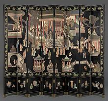 A CHINESE STYLE EIGHT-PANEL LACQUERED FLOOR SCREEN