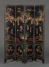 A CHINESE FOUR-PANEL LACQUERED FLOOR SCREEN