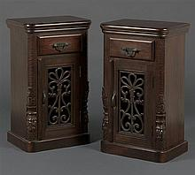 A PAIR OF COLONIAL STYLE TEAKWOOD BEDSIDE CABINETS