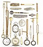 A COLLECTION OF ANTIQUE POCKET WATCHES, PENS, KNIVES AND A COMPASS