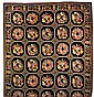 A HAND WOVEN FLORAL WREATH ON BLACK BACKGROUND NEEDLEPOINT RUG