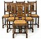 A SET OF SIX RENAISSANCE REVIVAL STYLE CANE SEAT SIDE CHAIRS