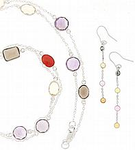 A GEM-SET STERLING SILVER NECKLACE AND EARRINGS SUITE 3 pieces total