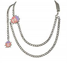 A CHANEL LADYBUG BRUSHED SILVER TONE AND POLYCHROME RESIN CHAIN BELT