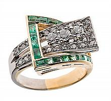 AN 18 KARAT WHITE AND YELLOW GOLD, DIAMOND, AND EMERALD BYPASS RING BY CHERNY
