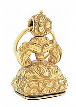A GENTLEMAN'S 14 KARAT GOLD FOB WITH INTAGLIO-CUT CARNELIAN
