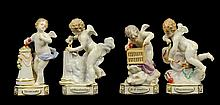 A GROUP OF FOUR MEISSEN PORCELAIN ALLEGORICAL PUTTO FIGURES