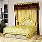 AN ITALIAN GILTWOOD BED WITH TESTER AND BED COVERS 20th Century Very good condition; three tassels from the canopy need to be resewn...
