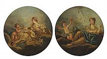 Anonymous Artist , French, 18th / 19th Century, Two Allegorical Paintings: Allegory of Lust and Allegory of Love, Oil on canvas, 30...