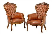 A PAIR OF ITALIAN BAROQUE STYLE UPHOLSTERED ARMCHAIRS