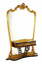 A VENETIAN ROCOCO STYLE DRESSING MIRROR AND VANITY