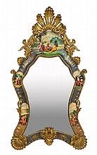 A VENETIAN ROCOCO STYLE PARCEL GILT AND PAINTED MIRROR