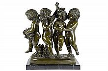 A CONTINENTAL BRONZE FIGURAL GROUP, AFTER AUGUSTE MOREAU