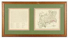 A HAND COLORED COPPER PLATE ENGRAVING OF JOHN CARY'S MAP OF MIDDLESEX COUNTY, ENGLAND