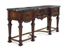 AN AMERICAN REPRODUCTION INLAID MARBLE TOP SIDEBOARD