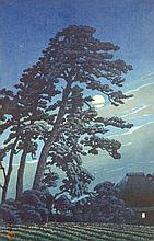 KAWASE HASUI, (Japanese, 1883-1957), Full Moon Over Magone, Woodblock print on paper, H 14 x W 9 inches