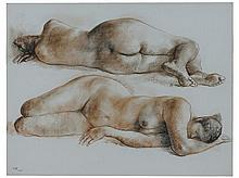 FRANCISCO ZÚÑIGA, (Mexican, 1912-1998), Desnudos Acostados, 1967, Conte on paper, 19 5/8 x 25 5/8 inches (49.8 x 65.1 cm).