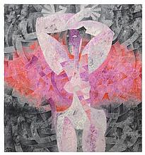 BYRON GÁLVEZ, (Mexican, 1941 - 2009), Figura en Rosa y Gris, Oil on canvas., 49½ x 46¼ inches (125.7 x 117.5 cm).
