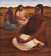 FRANCISCO ZÚÑIGA, (Mexican, 1912-1998), Mujeres, 1938, Oil on canvas, 36 3/8 x 32½ inches