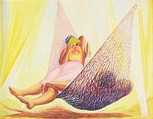 JOSÉ CHÁVEZ MORAD0, (Mexican,1909-2002), Hamaca, 1950, Oil on canvas laid down on board, 28 x 30 inches