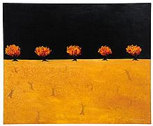 TIM HOWE, (New Zealand /American, current), Misterieux Arbres, 2001, Oil on canvas, 39 x 47½ inches.