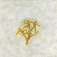 FRANCO ACEVES HUMANA, (Mexican, 1965), Human Pyramid, 1995, Pencil, oil and encaustic on wood, H 16 x W 16 inches