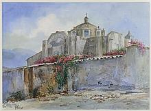 RICARDO PÉREZ ALCALÁ, (Mexican / Bolivian, born 1939), Monasterio, 1985, Watercolor on paper, H 21½ x W 29¼ inches