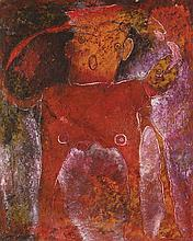 JAVIER CRUZ, (Mexican, born 1952), Cantante, 1996, Mixed media on canvas., H 39½ x W 31½ inches