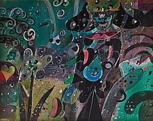 ROGER VON GUNTEN, (Swiss, born 1933), Jardín con Hechicería, 1992, Acrylic on canvas, H 15¾ x W 19¾ inches