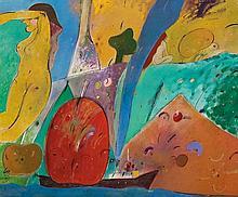 ROGER VON GUNTEN, (Swiss, born 1933), Azares de la Navegación, 1990, Oil and charcoal on canvas, H 39¼ x W 47¼ inches