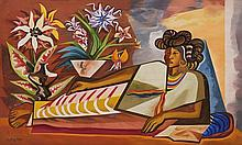 JOSÉ GARCÍA NAREZO, (Mexican, 1922-1994), Reposo, 1960, Oil on masonite, H 28¾ x W 47¼ inches