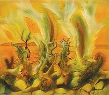 MARIO OROZCO RIVERA, (Mexican, 1930-1998), Cantor de Cristal, 1972, Acrylic on wood, H 21 x W 24 inches