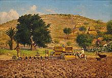 GUILLERMO GÓMEZ MAYORGA, (Mexican, 1889-1962), Paisaje con Tractor, Oil on canvas, H 27¾ x W 39½ inches